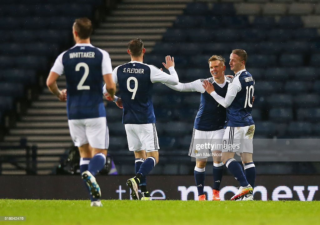Matt Ritchie of Scotland celebrates his goal during the International Friendly match between Scotland and Denmark at Hampden Park on March 29, 2016 in Glasgow, Scotland.