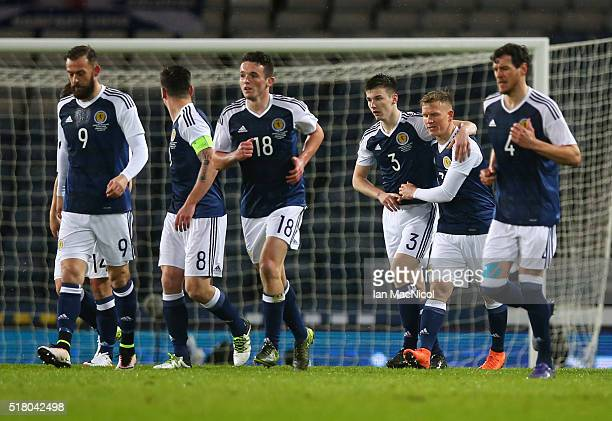 Matt Ritchie of Scotland celebrates his goal during the International Friendly match between Scotland and Denmark at Hampden Park on March 29 2016 in...