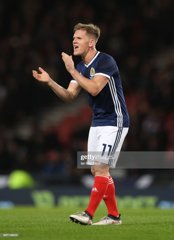 Matt Ritchie of Scotland react's during the Vauxhall International Challenge match between Scotland and Costa Rica at Hampden Park on March 23, 2018 in Glasgow, Scotland.