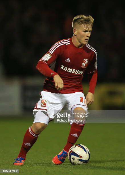Matt Ritchie of Swindon Town in action during the Capital One Cup Fourth Round match between Swindon Town and Aston Villa at the County Ground on...