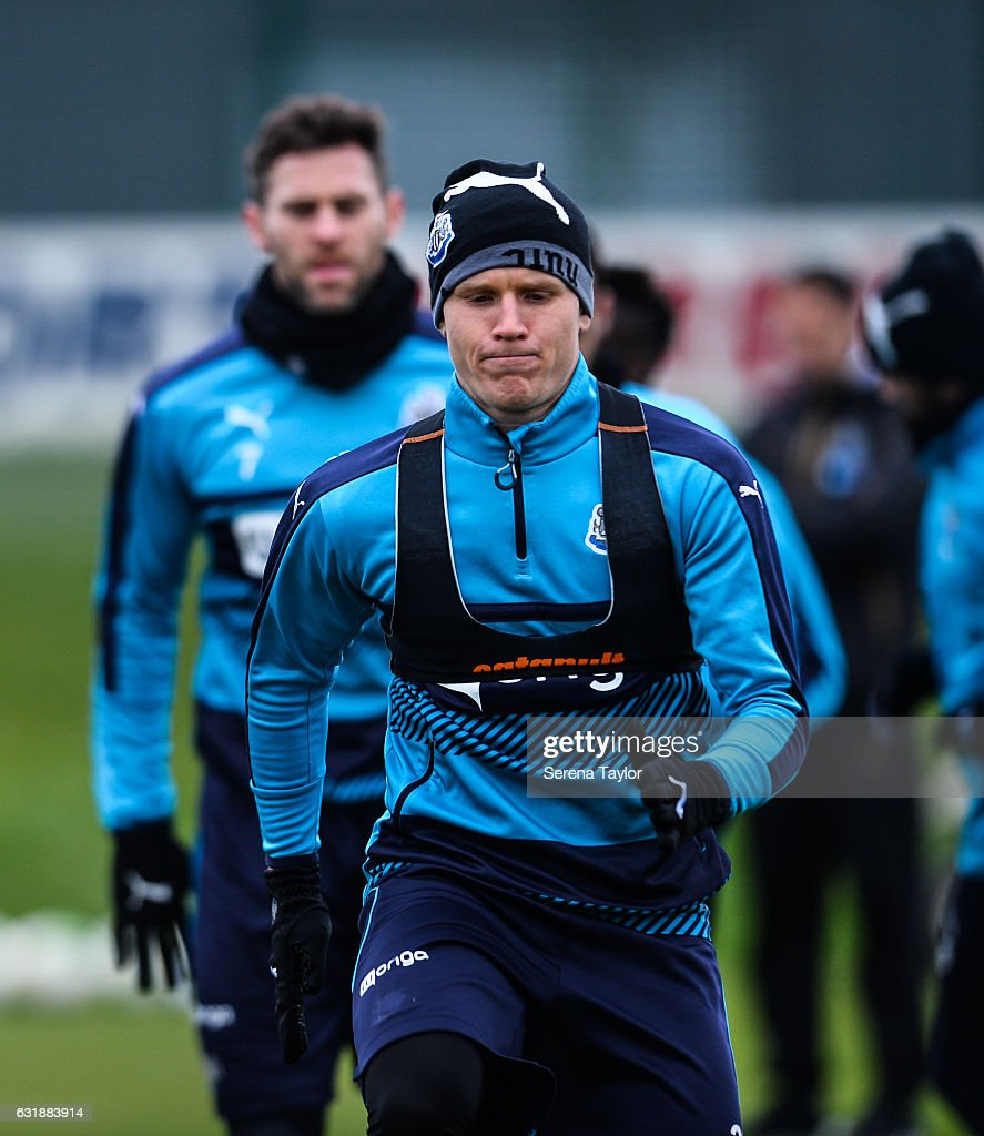 Matt Ritchie warms up during the Newcastle United Training Session at The Newcastle United Training Centre on January 17, 2017 in Newcastle upon Tyne, England.