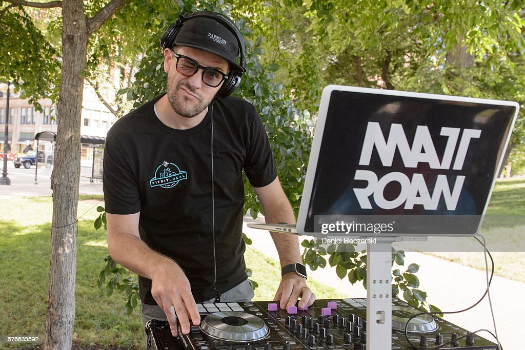 DJ Matt Roan performs during the launch of Fitbit Local Free Community Workouts In Chicago at Grant Park on July 16, 2016 in Chicago, Illinois.