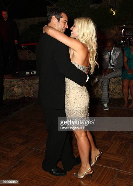 Matt Robinson and singer Natasha Bedingfield dance during the reception following their wedding ceremony held at Church Estate Vinyards on March 21...