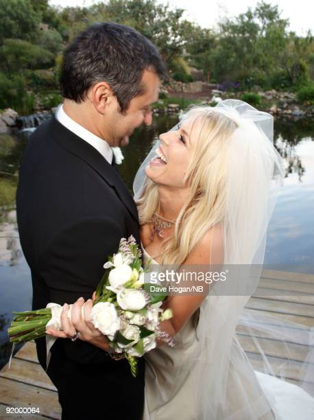 Matt Robinson and singer Natasha Bedingfield pose during the wedding ceremony held at Church Estate Vinyards on March 21 2009 in Malibu California