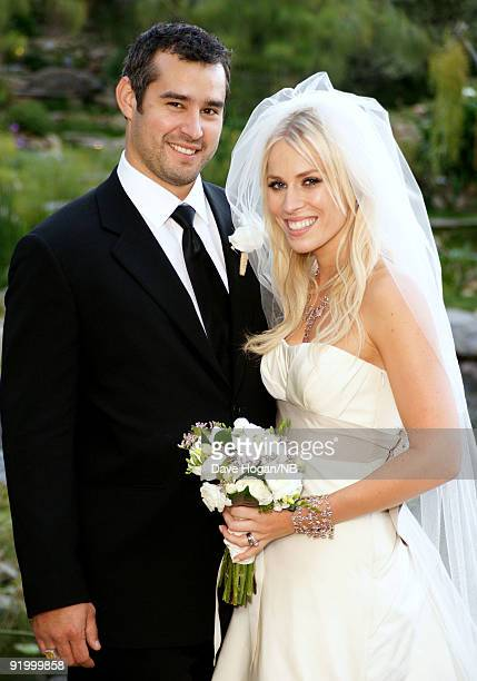 Matt Robinson and singer Natasha Bedingfield pose during their wedding ceremony held at Church Estate Vinyards on March 21 2009 in Malibu California