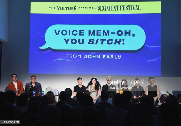 Matt Rogers Bowen Yang Pat Regan Annie Donley Dave Mizzoni Sydnee Washington Mo Fry Pasic and Peter Smith speak onstage at Vulture Festival presented...