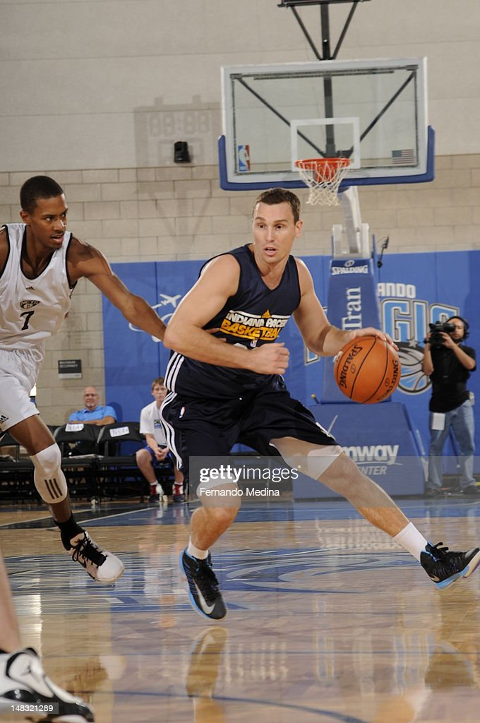 Matt Rogers #22 of the Indiana Pacers dribbles against the Brooklyn Nets during the 2012 Air Tran Airways Orlando Pro Summer League on July 13, 2012 at Amway Center in Orlando, Florida.