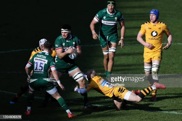 Matt Rogerson of London Irish getting tackled by Dan Robson of Wasps Rugby during the Gallagher Premiership match between London Irish and London...