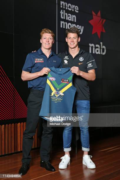 Matt Rowell of Vic Metro poses with Sam Walsh of the Blues at the 2019 AFL NAB Academy Guernsey Presentation on April 18 2019 in Melbourne Australia