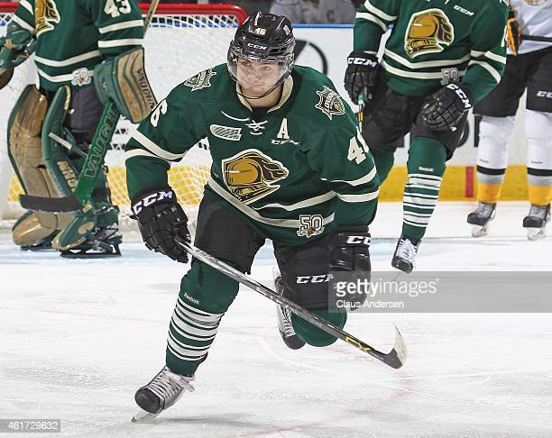 Matt Rupert of the London Knights skates against the Sarnia Sting in an OHL game at Budweiser Gardens on January 17 2015 in London Ontario Canada The...