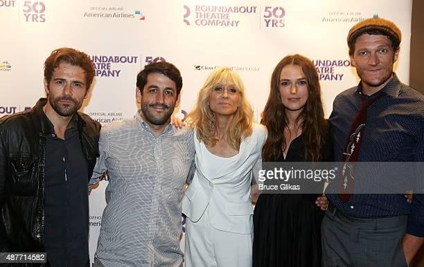 Matt Ryan Director Evan Cabnet Judith Light Keira Knightley and Gabriel Ebert pose at the Roundabout Theater Company's 50th Anniversary Season Party...