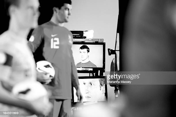 Matt Ryan of Australia in a behind the scenes look during a Socceroos portrait session film and interview day at Fox Studios on March 21 2013 in...