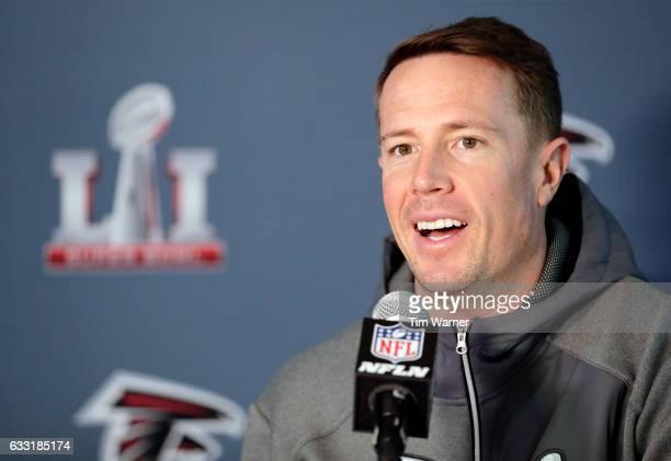 Matt Ryan of the Atlanta Falcons addresses the media at the Super Bowl LI press conference on January 31, 2017 in Houston, Texas.