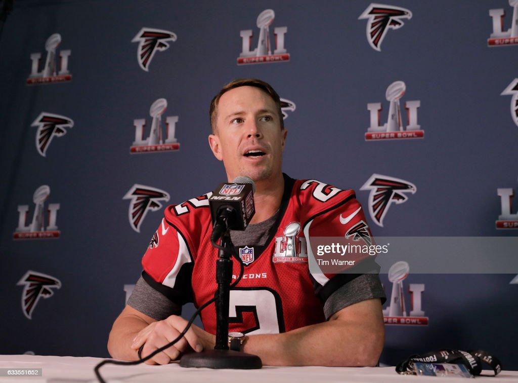 Matt Ryan #2 of the Atlanta Falcons addresses the media during the Super Bowl LI press conference on February 2, 2017 in Houston, Texas.