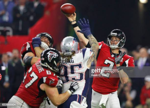 Matt Ryan of the Atlanta Falcons attempts a pass during the fourth quarter against the New England Patriots during Super Bowl 51 at NRG Stadium on...