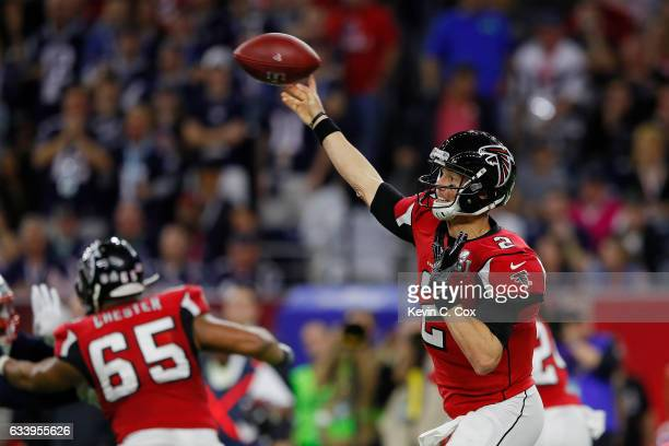 Matt Ryan of the Atlanta Falcons attempts to pass against the New England Patriots during the second quarter during Super Bowl 51 at NRG Stadium on...