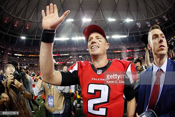 Matt Ryan of the Atlanta Falcons celebrates after defeating the Green Bay Packers in the NFC Championship Game at the Georgia Dome on January 22,...