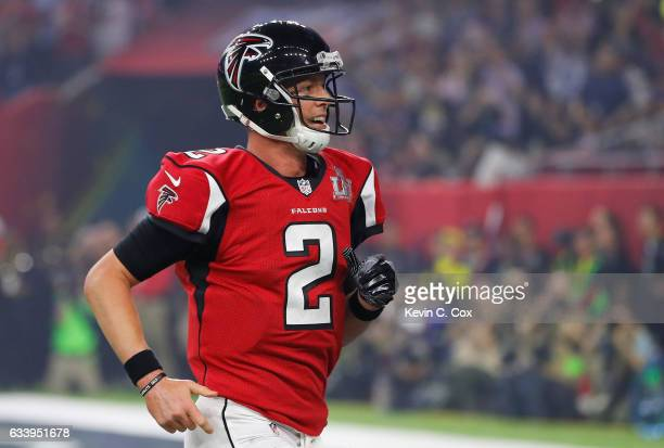 Matt Ryan of the Atlanta Falcons celebrates after Tevin Coleman scored a touchdown against the New England Patriots during Super Bowl 51 at NRG...