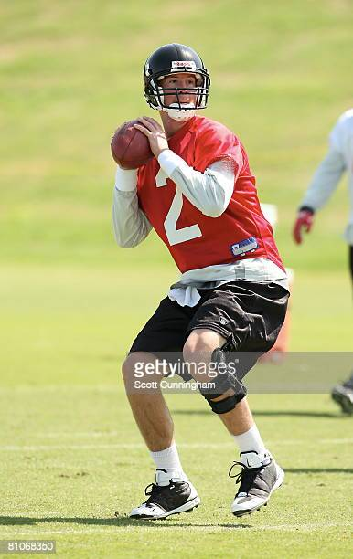 Matt Ryan of the Atlanta Falcons drops back to pass during mini camp at the Atlanta Flacons Training Facility on May 12 2008 in Flowery Branch Georgia