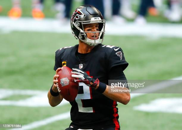 Matt Ryan of the Atlanta Falcons drops back to pass during the second quarter of an NFL game against the Chicago Bears at Mercedes-Benz Stadium on...