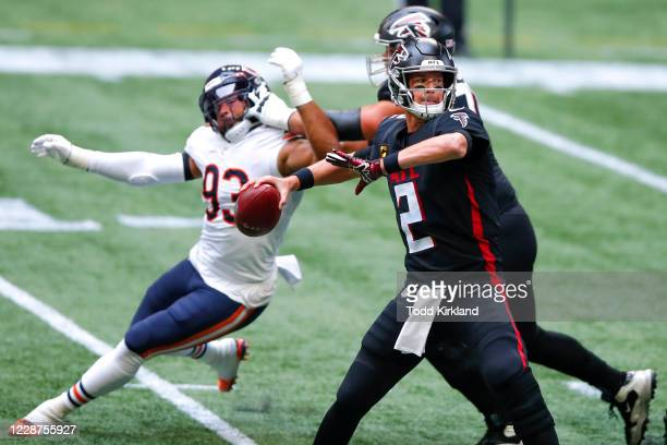 Matt Ryan of the Atlanta Falcons drops back to pass during the second quarter of an NFL game against the Chicago Bears at MercedesBenz Stadium on...