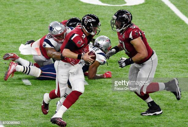 Matt Ryan of the Atlanta Falcons gets sacked by Trey Flowers of the New England Patriots during Super Bowl 51 at NRG Stadium on February 5, 2017 in...