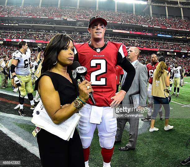 Matt Ryan of the Atlanta Falcons is interviewed by Pam Oliver after the game against the New Orleans Saints at the Georgia Dome on September 7 2014...
