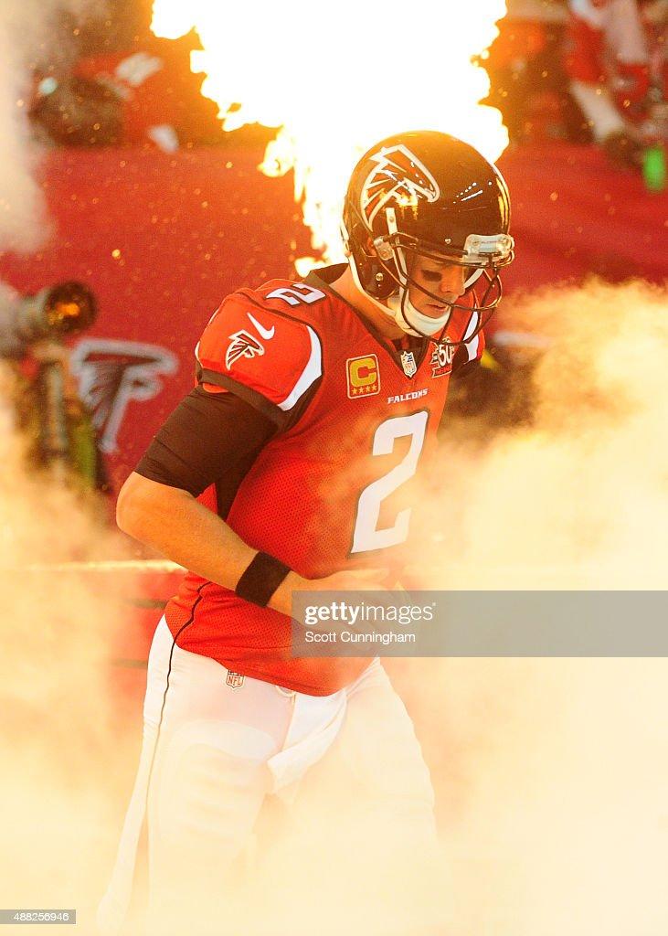 Matt Ryan #2 of the Atlanta Falcons is introduced before the game against the Philadelphia Eagles at the Georgia Dome on September 14, 2015 in Atlanta, Georgia.