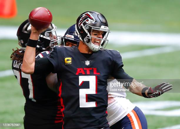 Matt Ryan of the Atlanta Falcons is pressured during the second quarter of an NFL game against the Chicago Bears at MercedesBenz Stadium on September...