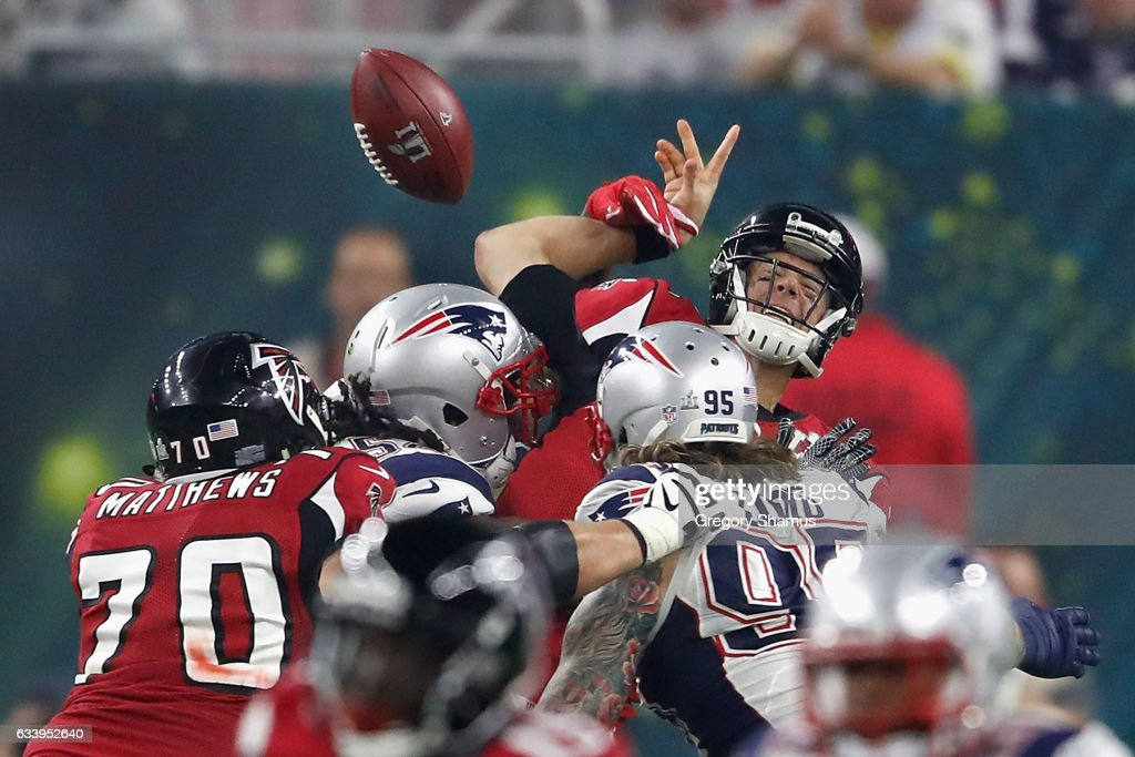 Matt Ryan #2 of the Atlanta Falcons is sacked by Dont'a Hightower #54 of the New England Patriots during Super Bowl 51 at NRG Stadium on February 5, 2017 in Houston, Texas.