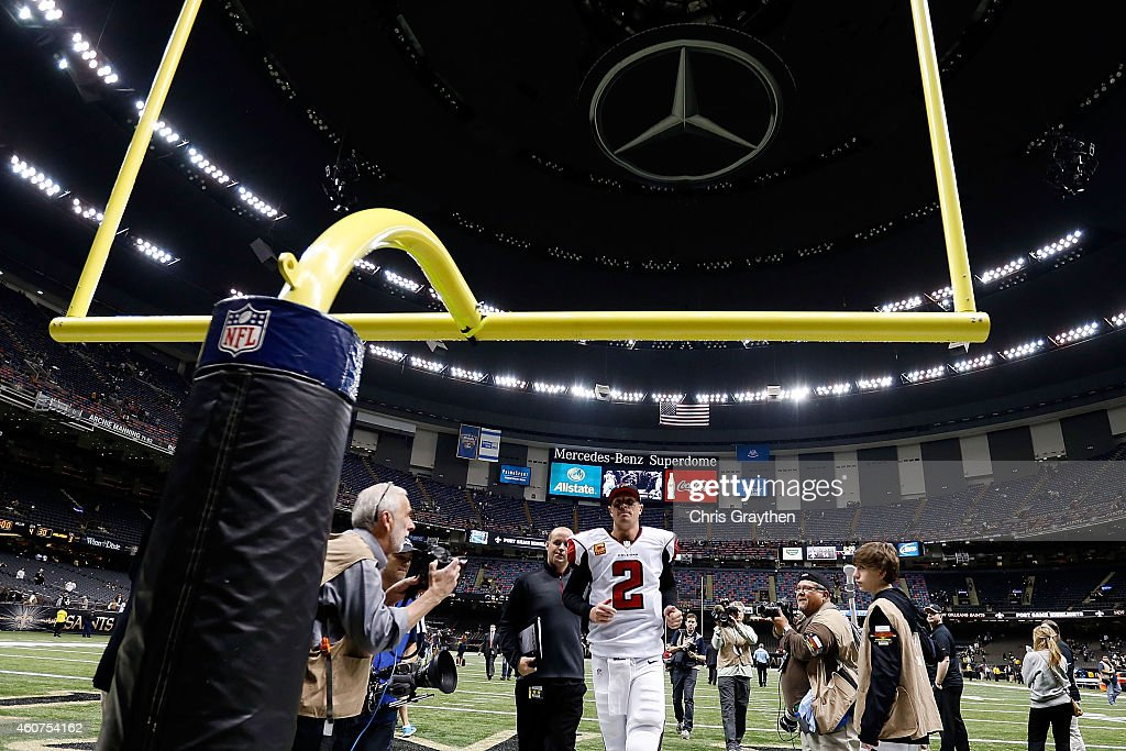Matt Ryan #2 of the Atlanta Falcons leaves the field following a game against the New Orleans Saints at the Mercedes-Benz Superdome on December 21, 2014 in New Orleans, Louisiana.