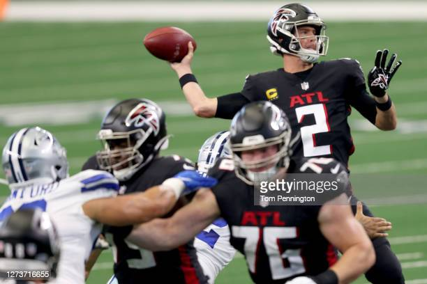 Matt Ryan of the Atlanta Falcons looks for an open receiver against the Dallas Cowboys in the first quarter at AT&T Stadium on September 20, 2020 in...