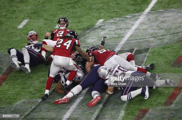 Matt Ryan of the Atlanta Falcons looks on after a fumble in the fourth quarter against the New England Patriots during Super Bowl 51 at NRG Stadium...