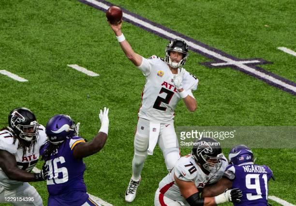 Matt Ryan of the Atlanta Falcons passes the ball in the second quarter of the game against the Minnesota Vikings at U.S. Bank Stadium on October 18,...