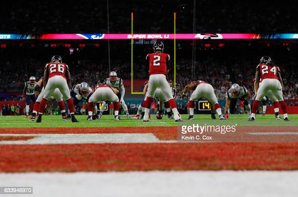 Matt Ryan of the Atlanta Falcons prepares for a snap in the first quarter against the New England Patriots during Super Bowl 51 at NRG Stadium on...