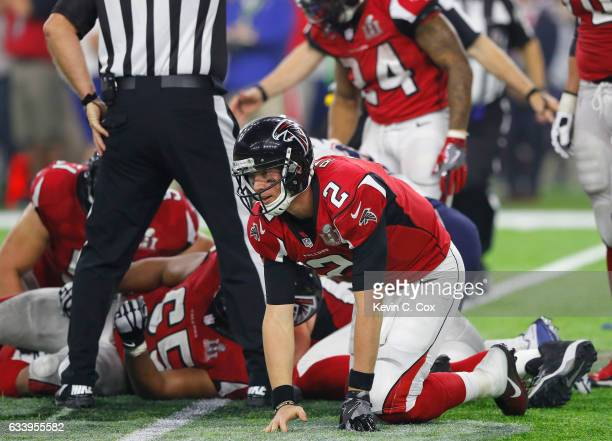 Matt Ryan of the Atlanta Falcons reacts after a fumble in the fourth quarter against the New England Patriots during Super Bowl 51 at NRG Stadium on...