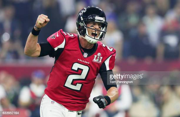 Matt Ryan of the Atlanta Falcons reacts after a touchdown against the New England Patriots in the third quarter during Super Bowl 51 at NRG Stadium...