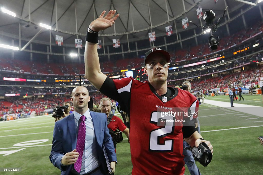 Matt Ryan #2 of the Atlanta Falcons reacts after beatting the Seattle Seahawks at the Georgia Dome on January 14, 2017 in Atlanta, Georgia.
