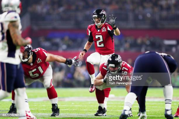 Matt Ryan of the Atlanta Falcons reacts calls for the ball against the New England Patriots in the fourth quarter during Super Bowl 51 at NRG Stadium...