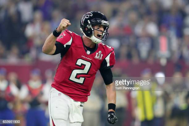 Matt Ryan of the Atlanta Falcons reacts during the game against the New England Patriots during Super Bowl 51 at NRG Stadium on February 5 2017 in...
