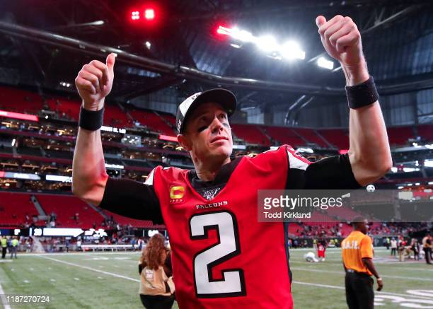 Matt Ryan of the Atlanta Falcons reacts following an NFL game against the Carolina Panthers at MercedesBenz Stadium on December 8 2019 in Atlanta...