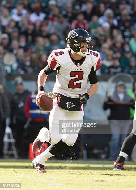 Matt Ryan of the Atlanta Falcons runs the ball against the Philadelphia Eagles at Lincoln Financial Field on November 13 2016 in Philadelphia...