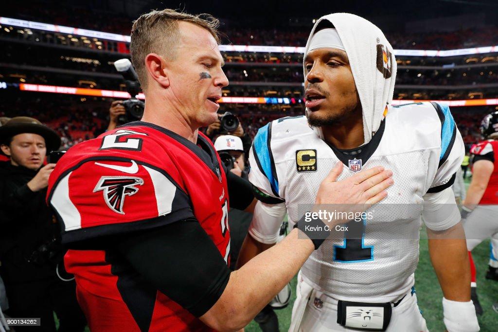 Matt Ryan #2 of the Atlanta Falcons shakes hands with Cam Newton #1 of the Carolina Panthers of the Carolina Panthers after the game at Mercedes-Benz Stadium on December 31, 2017 in Atlanta, Georgia.