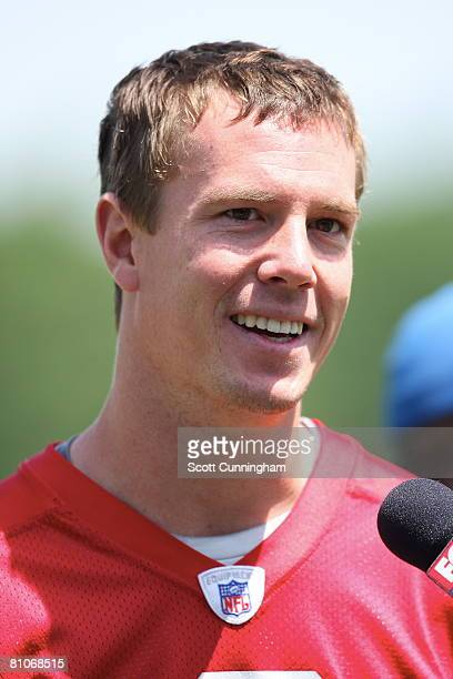 Matt Ryan of the Atlanta Falcons speaks to the media after mini camp at the Atlanta Flacons Training Facility on May 12 2008 in Flowery Branch Georgia