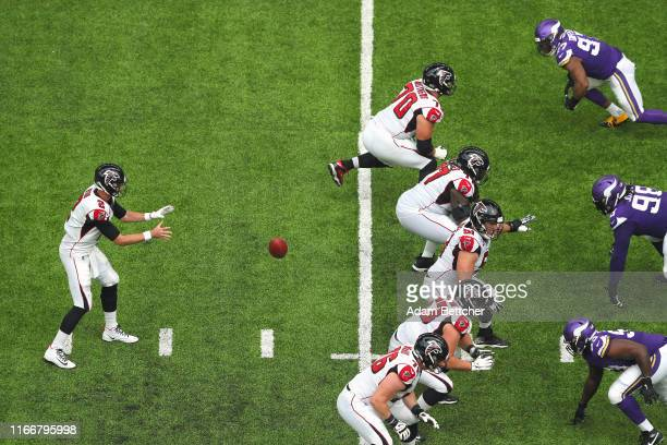 Matt Ryan of the Atlanta Falcons takes the snap in the second quarter against the Minnesota Vikings at US Bank Stadium on September 8 2019 in...