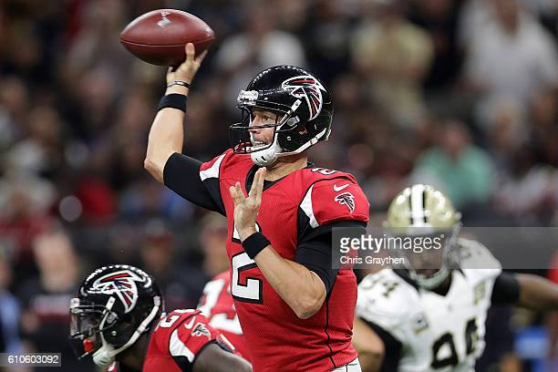 Matt Ryan of the Atlanta Falcons throws a pass against the New Orleans Saints at the MercedesBenz Superdome on September 26 2016 in New Orleans...