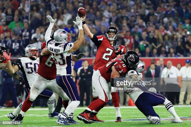Matt Ryan of the Atlanta Falcons throws a pass against the New England Patriots in the fourth quarter during Super Bowl 51 at NRG Stadium on February...
