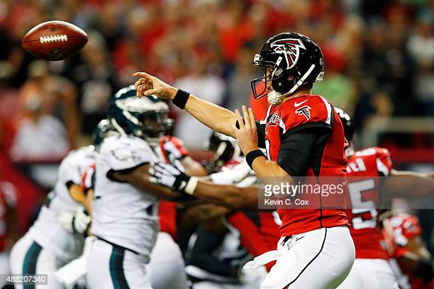 Matt Ryan of the Atlanta Falcons throws a pass during the first half against the Philadelphia Eagles at the Georgia Dome on September 14 2015 in...