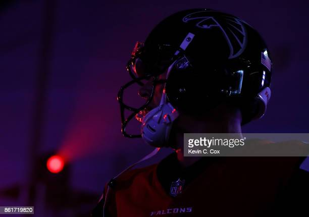 Matt Ryan of the Atlanta Falcons waits to run on the field prior to facing the Miami Dolphins at MercedesBenz Stadium on October 15 2017 in Atlanta...