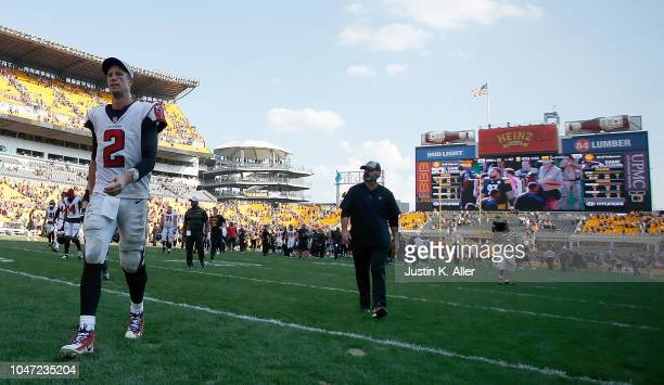 Matt Ryan of the Atlanta Falcons walks off the field after being defeated by the Pittsburgh Steelers 4117 at Heinz Field on October 7 2018 in...